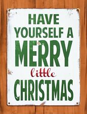 """Tin Sign """"Merry Little Christmas"""" White Art Painting Holiday Wall Decor"""