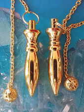 2 LARGE GOLD  SOLID OBLONG EGYPTIAN ISIS DOWSING PENDULUM WITH CHAINS, 2 POUCHES