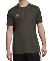 Adidas Mens Activewear Top Olive Green Large L Climalite 3-Stripe Jersey $35 058