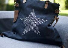 Large Stud Star Canvas Bag - Black