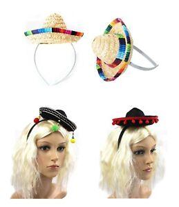 Mini Mexican Sombrero Hat Headband Spanish Fiesta Salsa Costume Party Dress Up