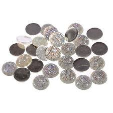 50pcs x 20mm AB CLEAR Flat Back Bubble Round Diamante Rhinestone Gems