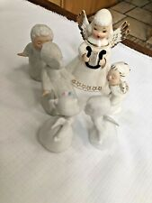 Vintage Japan Lot Of 6 Angels - White Gown Gold Trim Bisque