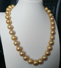 AAA 18 '' 11-12 mm south sea golden pearl necklace 14k gold clasp
