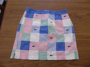 Vineyard Vines by Shep & Lan Women's 4 Skirt Patchwork Blue White Pink Green EUC