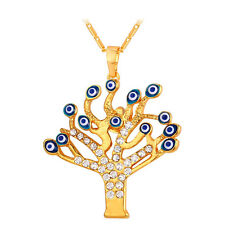 Tree Pendant Necklace 18K Gold Plated Rhinestone Lucky Evil Eyes Charm Jewelry
