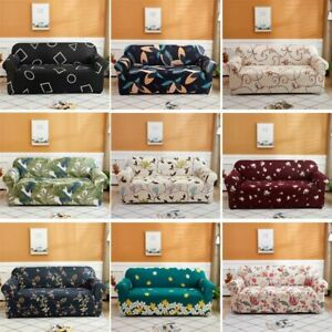 1/2/3/4 Seater Floral Leaves Printed Sofa Cover Universal Couch Case Slipcover