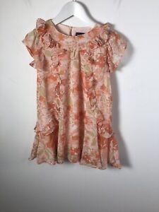 Bardot Junior Kids Girls Orange Floral Short Sleeve Ruffle Dress Size 5 Years