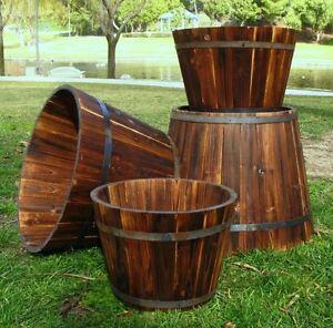 Wine Barrel Planter Whiskey Round Garden Pot Cedar Set Of 4 Rustic Planters Deck
