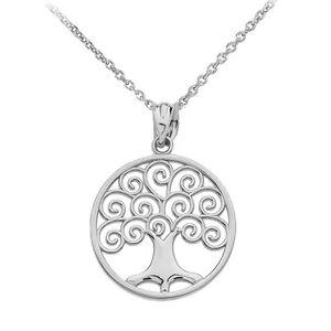 Fine 10k White Gold Tree of Life Openwork Pendant Necklace