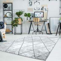 Teppich Flachflor Moda Meliert mit Geometrischen Muster Raute-Optik in Grau Weiß