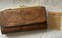 Vintage Princess Gardner Cognac Leather Wallet Fold Over Kiss-lock Coin Closure