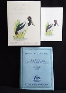 1991 BIRDS of AUSTRALIA JABIRU $10 SILVER COIN in WALLET MELBOURNE COIN FAIR