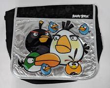 "ANGRY BIRDS MESSENGER! SILVER FOIL BLACK LARGE SCHOOL BAG ROVIO 16"" NWT"