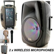 "Mak 15"" 800W Bluetooth Portable PA Active Karaoke Speaker Wireless Mic BAG - pnk"