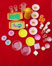 Large Lot Vintage Barbie kitchen plates cups pitchers vegetable trays etc.