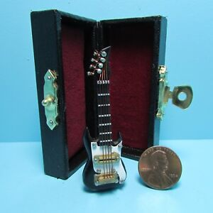 Dollhouse Miniature Electric Guitar in Black with Case MM603B
