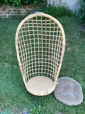 VTG Mid Century Egg Swing Rattan Wicker Bamboo Hanging Chair- PA
