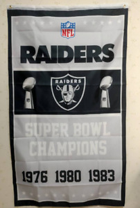 Oakland Raiders Super Bowl Champions Flag 3X5 FT NFL Banner Polyester
