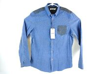 Ben Sherman Men's Blue Color Block Dotted Button Down Long Sleeve Shirt Sz L