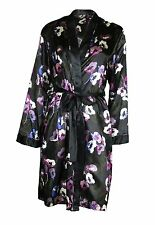 Famous Make Satin Dressing Gown Nightwear Night Robe Black Floral UK 16-18 New
