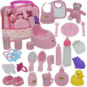 Baby Doll Diaper Bag Set, Doll Feeding Set with Baby Doll Accessories