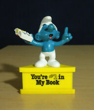 Smurfs Teacher Smurf A Gram #1 In My Book Vintage Toy PVC Figure Stand Lot 20059