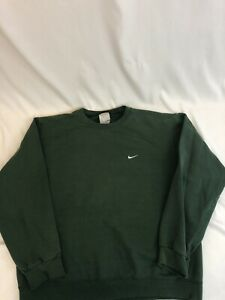 Vintage Nike Green Sweatshirt Size L Small Side Check Swoosh 90s