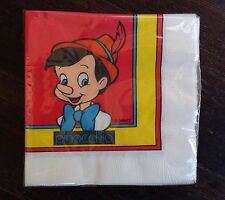 Vintage Disney PINOCCHIO LUNCH NAPKINS (20) Birthday Party Supplies Serviettes