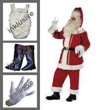 Weihnachtsmann Samt Bart | Gamaschen | Handschuhe | Jacke | Hose | Mütze |Gürtel