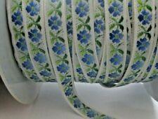 "7/16"" Wide Green Blue White Flower Jacquard Ribbon Trim - 2 yards"