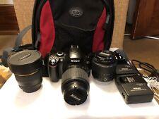 used Nikon D40 ( + 3 lens + chargers + camera bag) Please read description!!