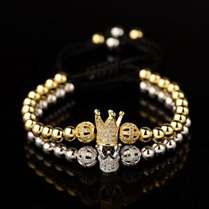 Luxury Men Women Micro Pave CZ Crown Copper Bead Multi-style Adjustable Bracelet