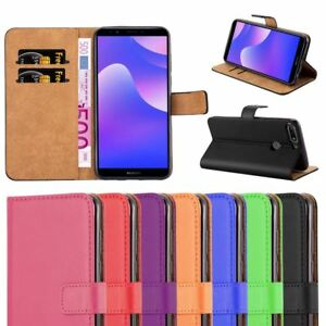 For Huawei Y7 2018 Case, Leather Wallet Flip Book Stand View Card Cover Pouch