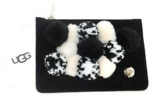 NEW NWT WOMENS UGG BLACK FERN ZIP POUCH POM POMS SUEDE COIN PURSE 1094833