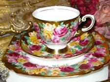 Vintage ROYAL TUSCAN Hand Paint PINK YELLOW ROSES on GOLD Tea Cup & Saucer Trio