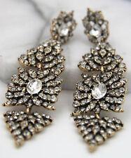 Long Ear Stud Hoop earrings 267 Woman's White Crystal Rhinestone Silver Plated