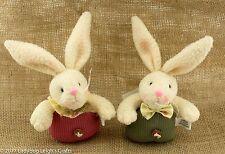 Boy & Girl Bunny Set of 2 Plush Easter Beanbag Spring NWT Pink & Green