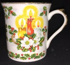 Antique English China Cup - Candles & Holly