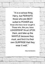Albus Dumbledore - Suited To Power - Quote A4 Size