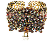 Gold Tone Brown Topaz Crystal Rhinestone Peacock Bird Bracelet Bangle Cuff Band