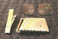 Vintage Sterling Cuff Links, Tie Bar and Belt Buckle Set