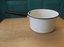 Vintage White Enamelware Pan with Black Trim