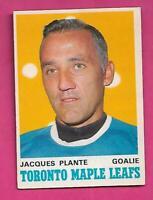 1970-71 OPC # 222 LEAFS JACQUES PLANTE GOALIE GOOD CARD (INV# D1003)