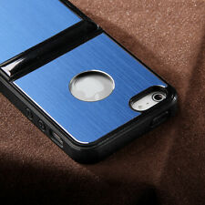 For iPhone SE 5S 5 Stand Shockproof Hybrid Metal Aluminum Rubber Hard Case