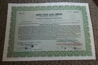 STOCK CERTIFICATE 50 Shares US UNITED STATES GLASS COMPANY CO Pennsylvania OLD!