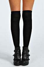 Ladies Long Cotton Stockings School Girl Preppy Thigh Knee-high Socks Black Prep