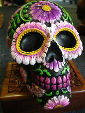 SUGAR PETAL SKULL FIGURE Ornament MONEY BOX MEXICAN Day of the Dead GOTHIC PAGAN