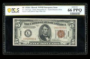 DBR 1934-A $5 FRN Hawaii Gem Fr. 2302 PCGS-Banknote 66 PPQ Serial L68126091A
