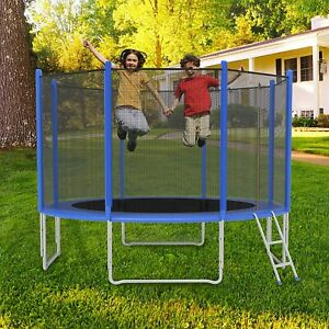 Luckyermore 12ft Trampoline Kids Jumping Bounce Safety Net Enclosure Spring Pad